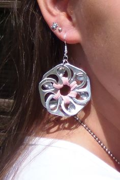 Flower pop tab earrings - pink Jadestorm Creations @ Etsy