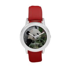 The face of this cute panda watch is my original photograph taken in Chengdu, China. What a great Christmas or Birthday gift for a child who loves pandas! It can be personalized with child's name, or example text can be deleted. Strap is red, but is available in other colors. All Rights Reserved © 2013 Marcia Socolik.  See matching products and other designs in my zazzle shop, SocolikCardShop*