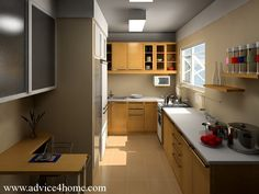 Best alley Kitchen remodel | ... wood cabinet design and white marble on counter top in kitchen design