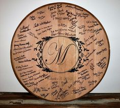 Whiskey Barrel Lid Wedding Register