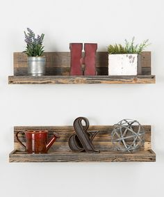 Look at this Barnwood Floating Shelves - Set of Two on #zulily today!