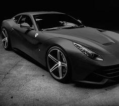 Cool Matte Black Ferrari via carhoots.com