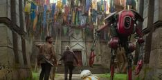 Many familiar banners can be seen hanging outside Maz Kanata's outpost, including several of the podracers' flags from Star Wars: The Phantom Menace and the mythosaur skull from Boba Fett's uniform.
