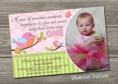 Baby Bird Birthday Invitation Digital File by WhimsicalCreationsPC, $14.99