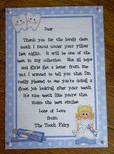 a4 letter from the tooth fairy