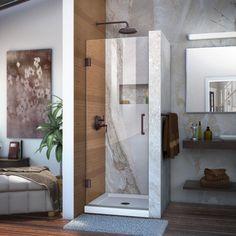 DreamLine Unidoor 24 in. x 72 in. Semi-Frameless Hinged Shower Door in Oil Rubbed Bronze with Handle
