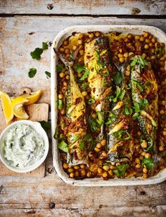 Spiced roast mackerel recipe Turmeric roast mackerel recipe with spiced chickpeas and raita – not your average roast recipe! This flavour-packed mackerel dish makes a wonderful spring supper. Roast Recipes, Fish Recipes, Seafood Recipes, Cooking Recipes, Healthy Recipes, Cooking Tips, Roast Dinner, Sunday Roast, Pisces