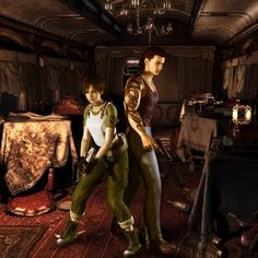 Resident Evil : Zero.   Rebecca Chambers y Billy Cohen dentro del tren