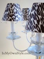 Chandelier Shade Covers made from scrapbook paper and crystals