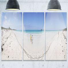 DESIGN ART Cayo Coco Tropical Beach Panorama - Modern Seascape Metal Wall At - 36Wx28H