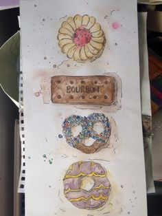 Watercolour and pen biscuits Watercolour Pen Biscuits Painting