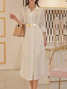 074fc615f5 White Midi Dress Date Long Sleeve Solid Dress Sheer Material