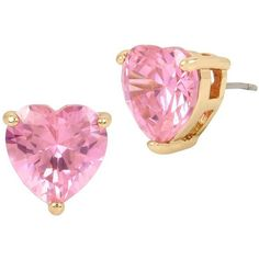 Betsey Johnson Crystal Heart Stud Earrings ($28) ❤ liked on Polyvore featuring jewelry, earrings, pink, heart earrings, pink earrings, crystal earrings, earring jewelry and heart shaped earrings