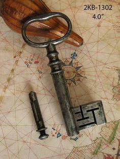 Ultra Rare Victorian Antique Old Safe Skeleton Key w/ Original End Dust Plug