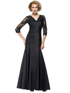 Sisjuly Women's Sheath V-Neck Lace Taffeta Mother of Bride Dress with Sleeves >>> Remarkable product available now. : mother of the bride dresses