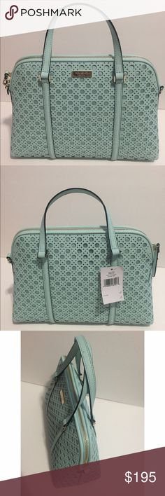 """Kate Spade Small Rachelle Newbury Lane Caning Kate Spade Small Rachelle Newbury Lane • Color: Graceblue • Material: Sophiano leather • Measurment: 12x9x5 • Brand new. Never used • Tag and care card are included • No trade No hold • Plz use OFFER button for reasonable offers. I said """"YES"""" most of the time. kate spade Bags Satchels"""