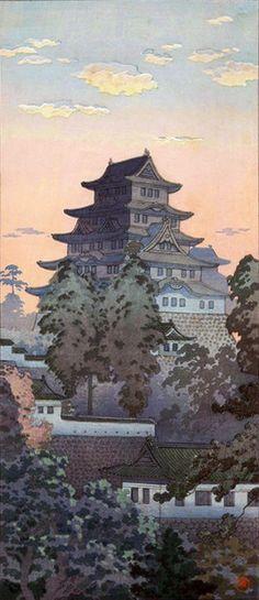 Woodblock Print - Himeji Castle by Tsuchiya Koitsu Japanese Artwork, Japanese Painting, Japanese Prints, Chinese Painting, Japan Illustration, Botanical Illustration, Japanese Woodcut, Art Chinois, Japanese Castle