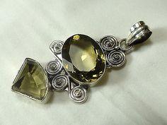 XL-Lemon-Quartz-Pendant-set-in-925-Sterling-Silver-Hand-Made-UK-Seller