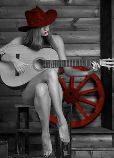 Sexy cowgirl with acoustic guitar. More sexy women models at… Cowgirl Sexy, Color Splash, Color Pop, Pink Color, Vaquera Sexy, Redneck Girl, Guitar Girl, Pink Guitar, Exotic Women