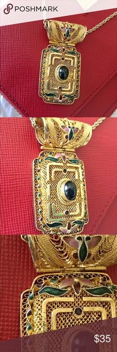 Sterling silver pendant with gold-tone filigree Vintage Statement pendant, sterling silver (925) with gold tone filigree and enamel.  Stunning. Please note that comes without the chain! Jewelry Necklaces