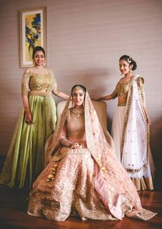 Sister of the Bride - Japji & Birdi | WedMeGood | Bride in  a Dusky Pink Wedding Lehenga and the Sister in a Lime Green Lehenga and a White Lehenga  #wedmegood #indianbride #indianwedding #pink #lehenga #green #white #bridal #realwedding #sisterofthebride #sisterofthebrideoutfits