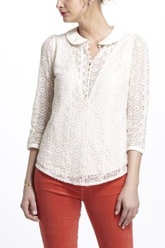 Lace Overlay Blouse - Anthropologie.com
