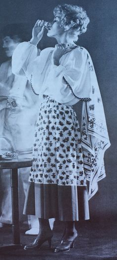 Lanvin Haute Couture-1978  White crepe de chine blouse and floral skirt with wide green trim. L'Officiel USA May/June 1978