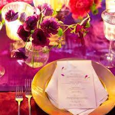 fuchsia and gold table setting