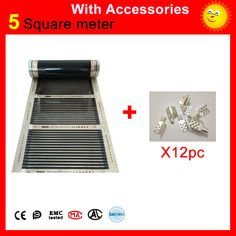 5 Square meters floor Heating film, 110W per meter infrared heating film 50cm x 10m with 12 pieces of clamps for heating floor