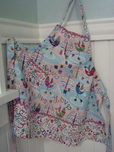 Girls full apron Christmas Apron rik rak pom pom by Corrinabella, $22.00