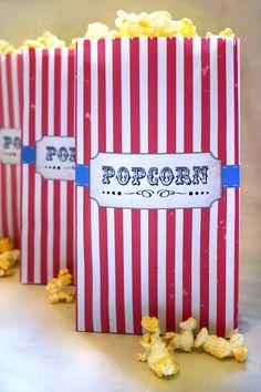 Popcorn Bag Printable Template - DIY PRINTABLE FILE - Vintage Circus Kids Birthday Party. $6,50, via Etsy.