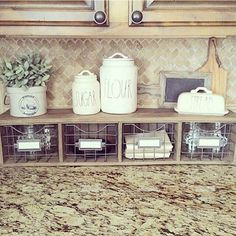 Kitchen Decorating Counter Organizer with Metal Basket Storage Drawers - Farmhouse kitchen design tugs at the heart as it lures the senses with elements of an earlier, simpler time. See the best decoration ideas! Kitchen Decorating, Farmhouse Kitchen Decor, Kitchen Redo, Country Farmhouse, Farmhouse Design, Modern Farmhouse, Kitchen Backsplash, Room Kitchen, Farmhouse Baskets