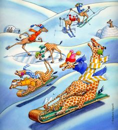 sledding Winter Illustration, Giraffe Art, Animals Beautiful, Make Me Smile, My Love, Cute, Pictures, Illustrations, Christmas