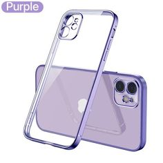 Luxury Classic Square Frame Plating Case on For iPhone 12 11 12 and 13 Pro Max Soft Clear Cover - for 11 pro max / Purple