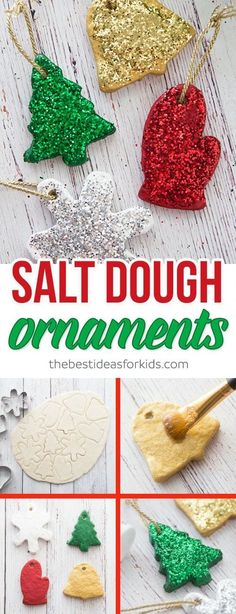 These salt dough ornaments are so fun to make and would make a great gift! Kids will love helping to make these ornaments as a craft this holiday season! #diychristmas #saltdough #DIYornaments