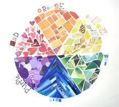 Monument Valley Regional Middle School Art Class: Color Wheel Collage, 6th Grade