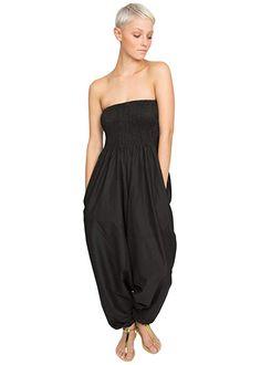 f45d0919726 Cotton Maxi Harem Pants Romper Jumpsuit Black