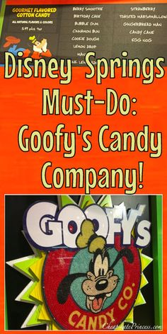 Disney Springs Must-Do- Goofy's Candy Co. Disney World Secrets, Disney World Magic Kingdom, Disney World Tips And Tricks, Disney Tips, Disney Springs, Goofy Disney, Disney Food, Disney Stuff, Walt Disney World Vacations