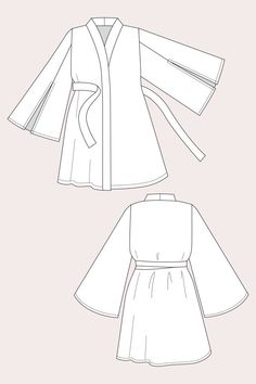 Fashion design sketches 423268064980554563 - Patron Named ASAKA Kimono Format PDF – The Sweet Mercerie Source by LayetteBoshi Clothes Draw, Drawing Clothes, Diy Clothes, Flat Drawings, Flat Sketches, Technical Drawings, Drawing Sketches, Motif Kimono, Kimono Sewing Pattern