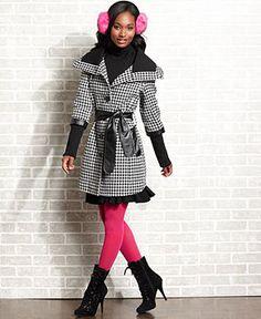 Jou Jou Juniors Coat, Three-Quarter Sleeve Houndstooth-Print - Juniors JUNIORS SALE & CLEARANCE - Macy's