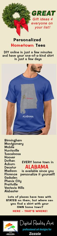 South east region of usa 4 state county map alabama for Custom t shirts montgomery al