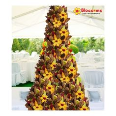 Chocolate Blossoms Fruit Bouquet Tower  Are you looking for that spectacular centerpiece that is sure to wow all of your guests? This tower was designed specifically for you! Perfect for any wedding, corporate event, party and gathering. Stand out and let your party be the talk all year! Banquet, Corporate Events, Fresh Fruit, Blossoms, Centerpieces, Tower, Wedding Ideas, Chocolate, Formal
