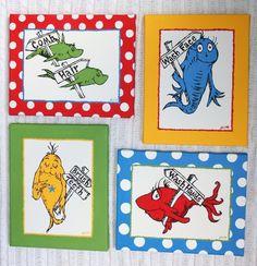 One Fish, Two Fish Inspired SET OF 4 Dr. Seuss CUSTOM PAINTINGS Bathroom Set. $95.00, via Etsy.