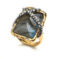 Phoenix Rocky Solitaire Ring Labradorite and Crystals