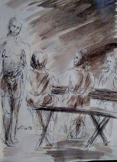 7 Avril 2018, évangile du jour illustré par un dessin au lavis