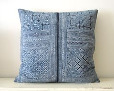 Your place to buy and sell all things handmade Vintage Textiles, Indigo, Hand Weaving, Cushions, Blue And White, Throw Pillows, Ahs, White Bedroom, Shibori