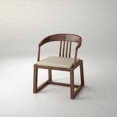 单椅 传统榫卯结构,现代人体工学尺度,软包让坐更舒适。 规格:W580×D560×H770 材质:卡斯楠、亚麻面软垫 颜色:胡桃色亚光开孔漆 设计师:康佳为
