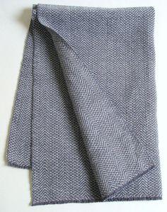 handwoven herringbone towel, dark and light gray