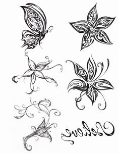 tattoo vorlage mit schmetterling und hibiskus blumen tattoo vorlagen pinterest blume. Black Bedroom Furniture Sets. Home Design Ideas