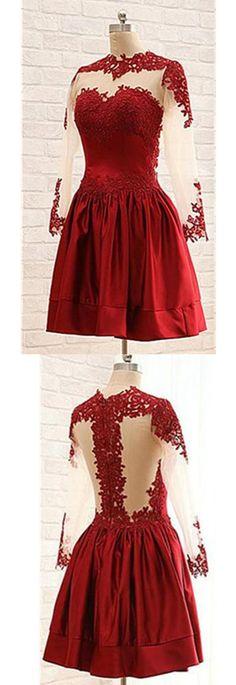 Burgundy Long Sleeves Lace Short Handmade Homecoming Dresses